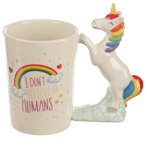Ceramic I Don't Believe in Humans Unicorn Shaped Handle Mug