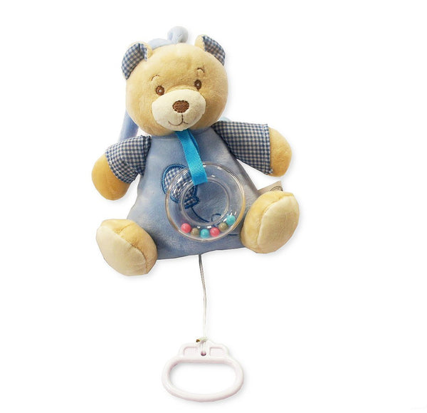 Baby Boys Blue Soft Teddy Bear Pull String Musical Activity Rattle Toy