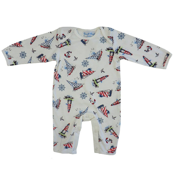 Powell Craft Baby Boys Cotton Nautical Jumpsuit/babygrow. white - hanrattycraftsgifts.co.uk