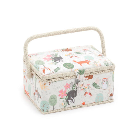 Hobby Gift 'Woodland' Medium Rectangle Sewing Box 18.5 x 26 x 15cm (d/w/h) - hanrattycraftsgifts.co.uk