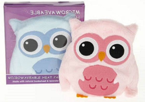 wheaty warmers microwavable heat pack owls supplied in either blue or pink
