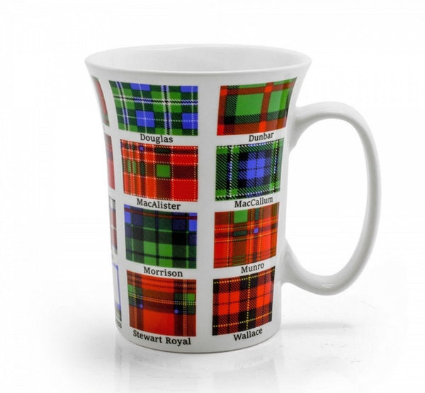 Scottish Family Tartans Clan Mug - Bone China - Black Watch - Fraser - MacDonald - Ramsay - Buchanan - Gordon - MacDougall - Sinclair - Cameron - Grant - MacTavish - Stewart Dress - Douglas - MacAlister - Morrison - Stewart Royal - Dunbar - MacCallum - - hanrattycraftsgifts.co.uk