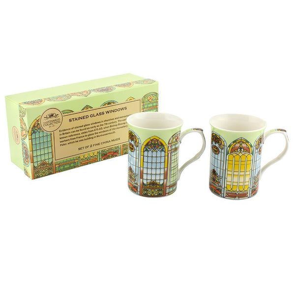 "Leonardo LP92365A Stained Glass ""Window"" Mug, Set of 2 - hanrattycraftsgifts.co.uk"