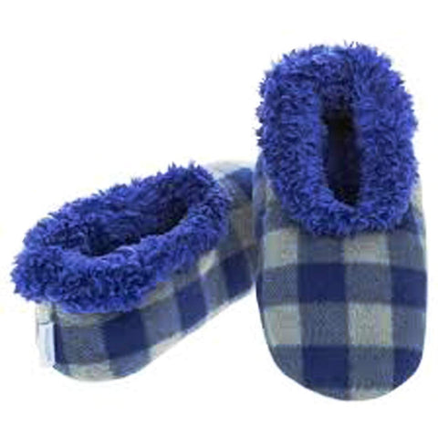 Boys Blue Grey Buffalo Check Fun Kids Snoozies Slippers - hanrattycraftsgifts.co.uk