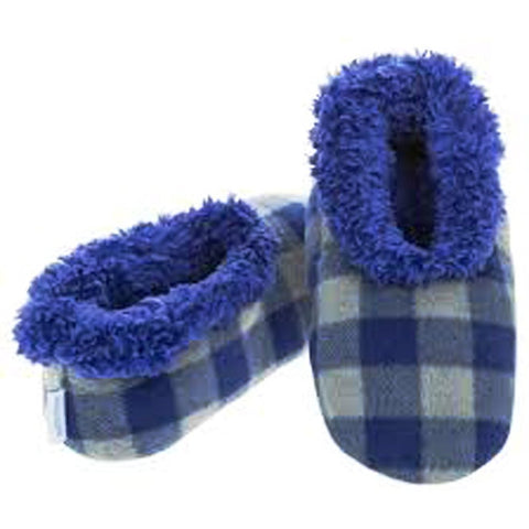 Boys Blue Grey Buffalo Check Fun Kids Snoozies Slippers in S/M/L - hanrattycraftsgifts.co.uk