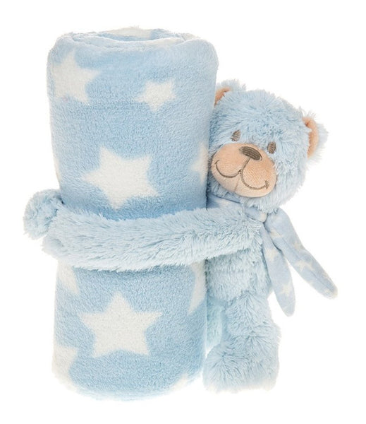 Cuddletime Blue Bear baby blanket 105cm x 83cm - hanrattycraftsgifts.co.uk