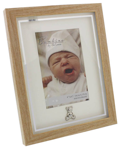 "Bambino Light Wooden effect Picture Frame with Silver Teddy Bear Icon 4"" x 6"""