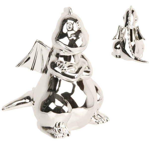 Juliana Silverplated Money Box - Dragon with Wings - hanrattycraftsgifts.co.uk