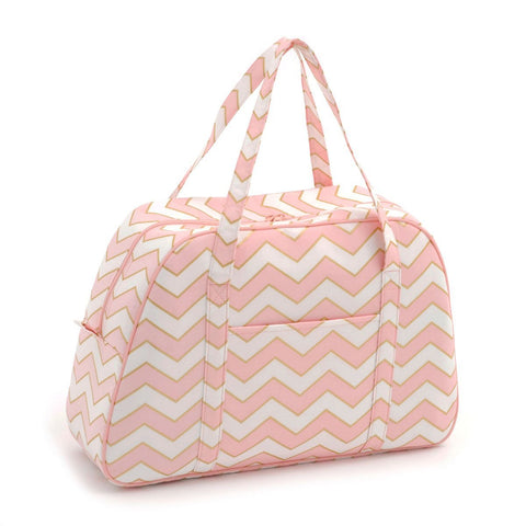 Classic Collection: Sewing Machine Bag: Chevron - Pearlised Blush HGSWB09 - hanrattycraftsgifts.co.uk
