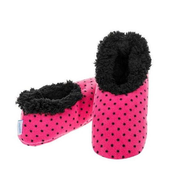 Snoozies Slippers Bright Print Fleece Ladies UK 3-4 Polka Dot - hanrattycraftsgifts.co.uk