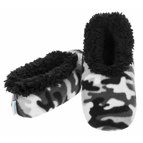 Boys Grey Camouflage Fun Kids Snoozies Slippers in S/M/L - hanrattycraftsgifts.co.uk