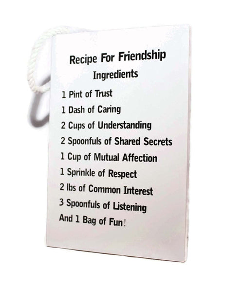 Recipe For Friendship Ingredients Plaque With Rope Hanger - hanrattycraftsgifts.co.uk