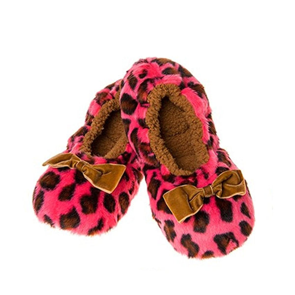 Deep Dusky Pink Soft Plush Animal Leopard Print Snoozies Fluffy Slippers (Medium UK 5-6) - hanrattycraftsgifts.co.uk