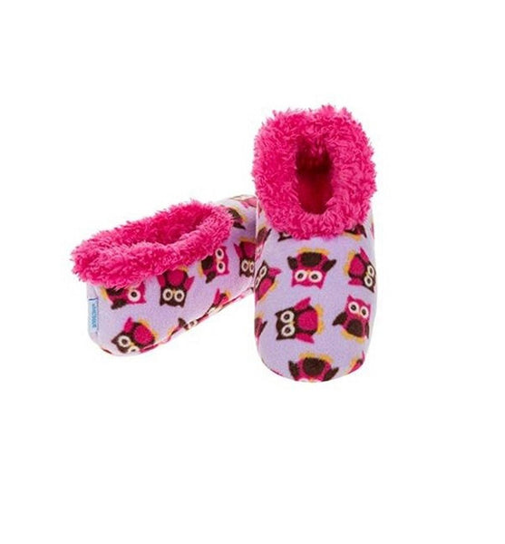 Snoozies Slippers Bright Print Fleece Ladies UK 3-4 Owl Party - hanrattycraftsgifts.co.uk