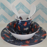 Powell Craft Melamine Toddler Dinner Set, ROBOT - hanrattycraftsgifts.co.uk