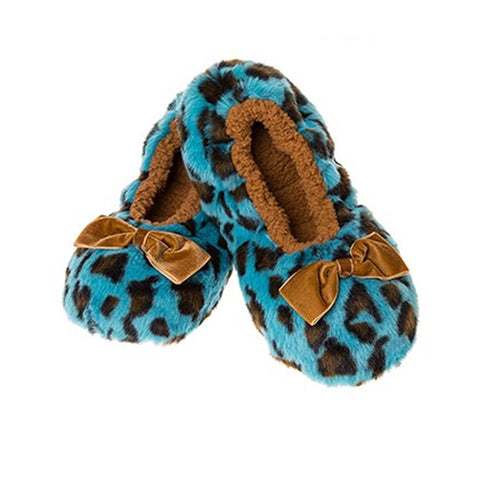 504473e02 Deep Blue Leopard Animal Print Snoozies Soft Cosy Slippers