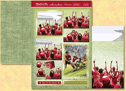 Hunkydory Magnificent Men FOOTBALL & RUGBY decoupage TOPPERS & CARD - hanrattycraftsgifts.co.uk