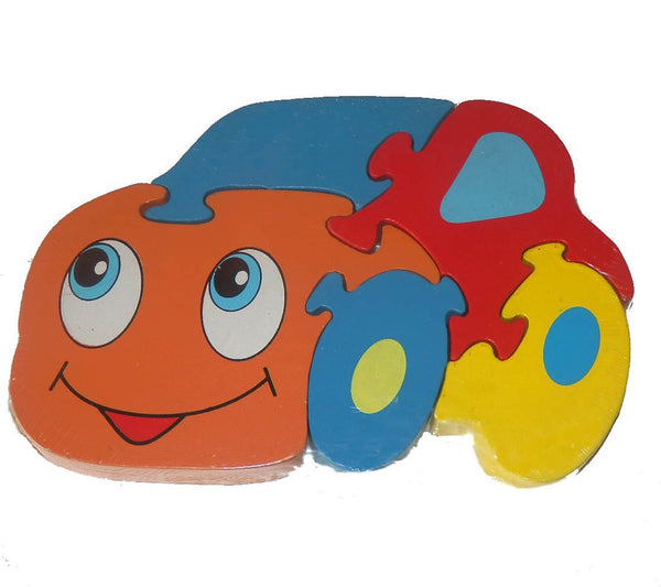 Traditional Wood'n'Fun: Baby/Toodler Wooden Colourful Car Jigsaw/Puzzle - hanrattycraftsgifts.co.uk