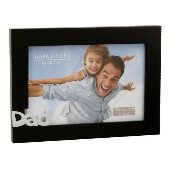 "Dad 6"" x 4"" Cut Out Black Wooden Frame by Juliana FW924D - hanrattycraftsgifts.co.uk"