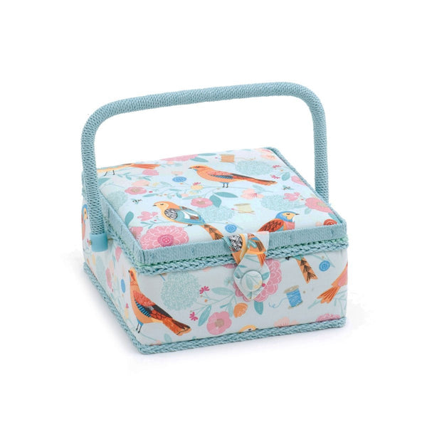 Hobby Gift 'Birdsong' Small Square Sewing Box 20 x 20 x 11cm (d/w/h) - hanrattycraftsgifts.co.uk