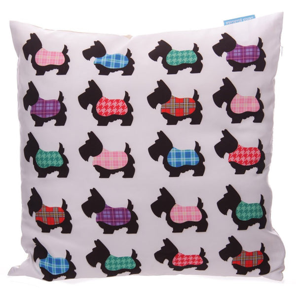 Scottie Dog Lauren Billingham Printed Cushion Cover - hanrattycraftsgifts.co.uk