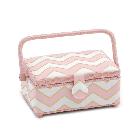 Hobby Gift 'Chevron Pearlised Blush' Small Rectangle Sewing Box 24 x 16 x 11cm (d/w/h) - hanrattycraftsgifts.co.uk