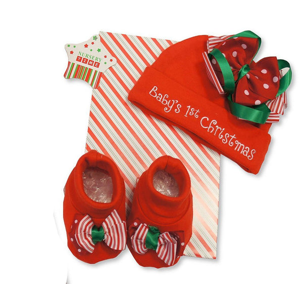 Cute 2 Piece Red Gift Set - Babys 1st Christmas Design - Incs Hat & Booties - 0-6 Months - hanrattycraftsgifts.co.uk