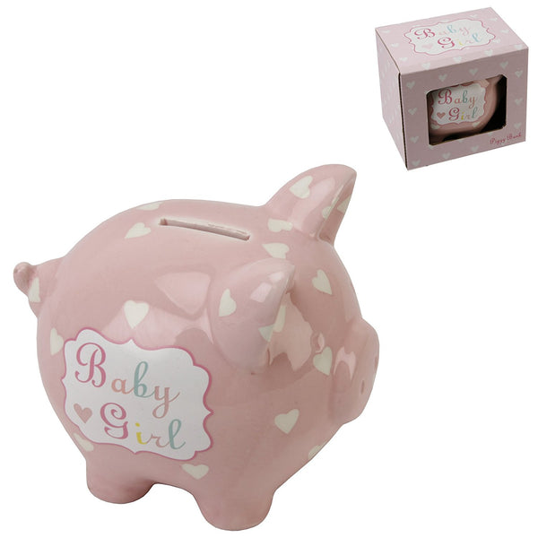 Heart and Star Piggy Bank - Baby Girl - hanrattycraftsgifts.co.uk