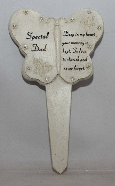 Dad Diamante Memorial Butterfly Stake Garden Stone Plaque Grave Ornament pushes in ground - hanrattycraftsgifts.co.uk