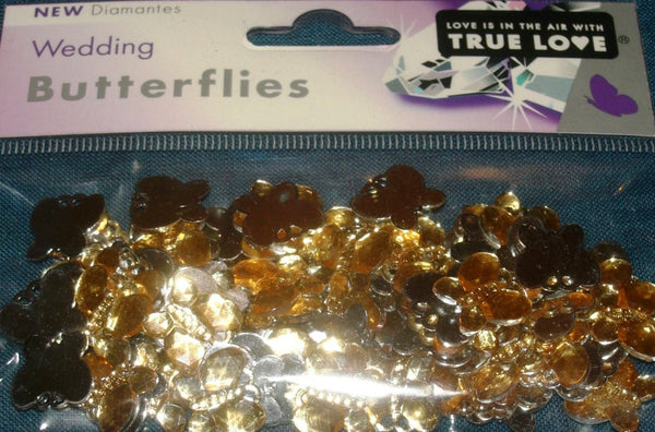 GOLD BUTTERFLIES - BUTTERFLY TABLE DIAMANTES - CONFETTI - 21gm - hanrattycraftsgifts.co.uk