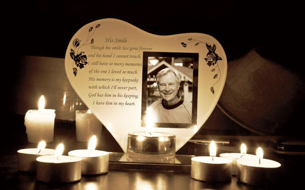 His Smile Memorial Poem & Photo Candle Holder - hanrattycraftsgifts.co.uk