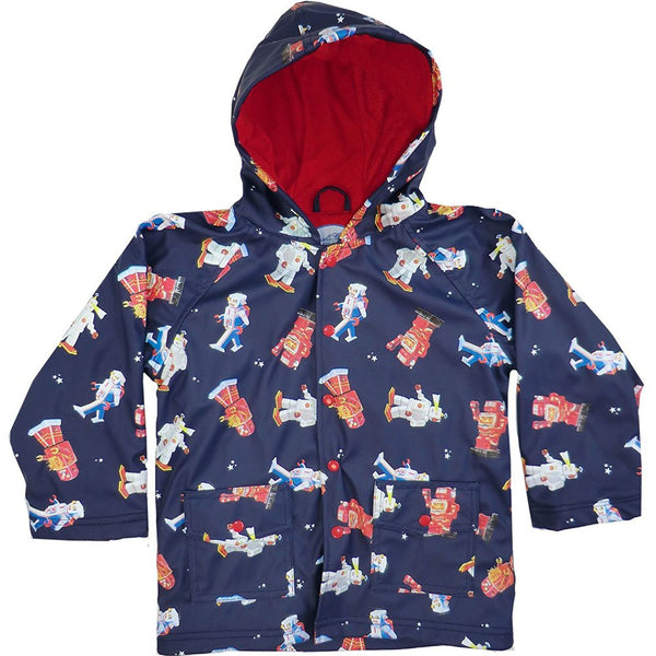 Powell Craft Boys Vintage Robot Raincoat. Navy Blue. - hanrattycraftsgifts.co.uk