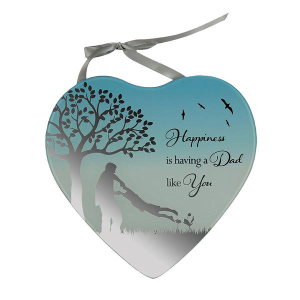 Dad- Happiness is having a Dad like you Reflections from the Heart Mirrored Hanging Plaque - hanrattycraftsgifts.co.uk
