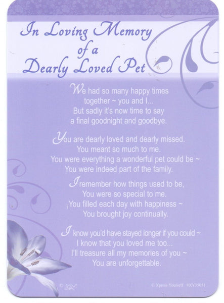 In Loving Memory - Of A Dearly Loved Pet - Grave/Graveside Memorial Card - hanrattycraftsgifts.co.uk