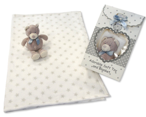 BABY BLANKET AND BEAR GIFT SET IN GREY - hanrattycraftsgifts.co.uk