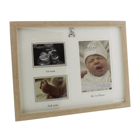 Bambino Light Wooden effect 3 in 1 Picture Frame with Silver Teddy Bear Icon