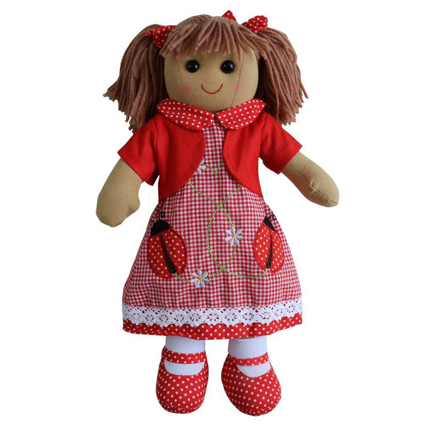 Ladybird embroidered dress rag doll with red cardigan and red polka dot shoes. size 40cm. - hanrattycraftsgifts.co.uk