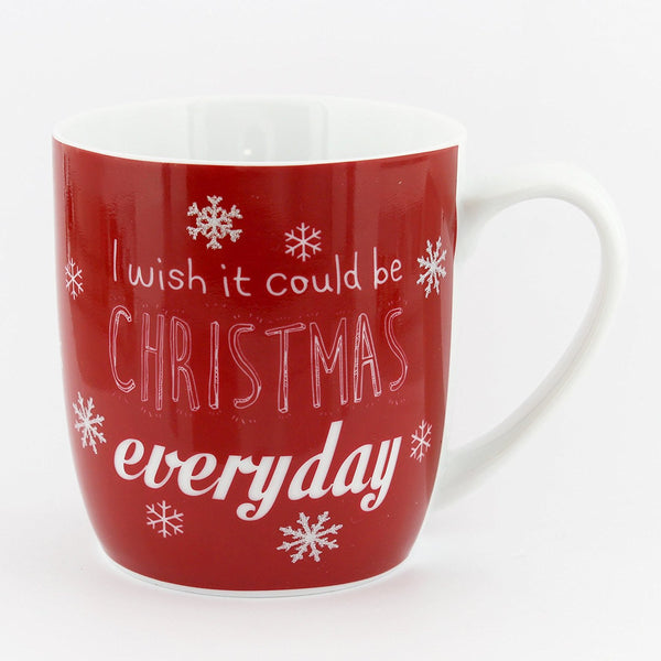 Festive Red, White & Silver I WISH IT COULD BE CHRISTMAS EVERY DAY Mug / Cup - ceramic Christmas mug for tea / coffee / hot chocolate - hanrattycraftsgifts.co.uk