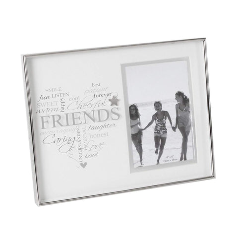 "Heartfelt Moments Nickel Plated Frame Heart 4"" x 6"" Friends"