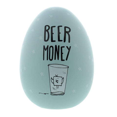 "Eggcellent Large Nest Egg Money Pot - Pale Blue ""Beer Money"""