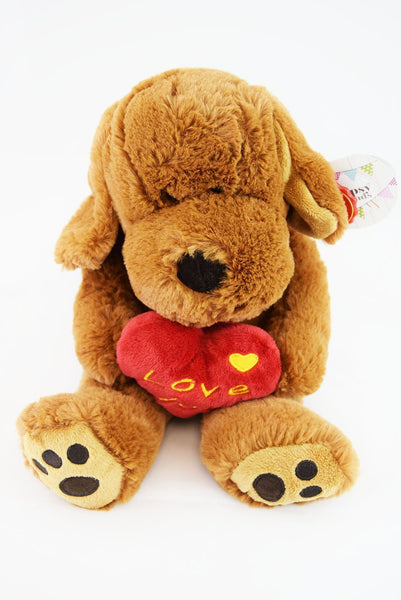 Floppy Dog Cuddly Toy Valentines Gift Brown Puppy Love Heart with Love You Heart