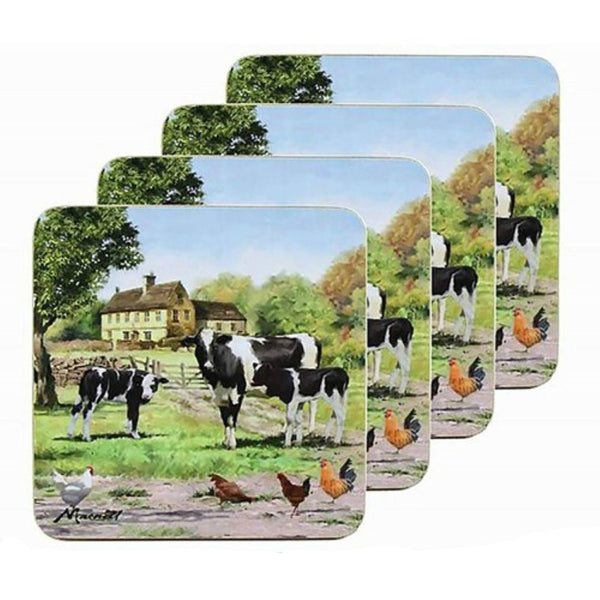 Macneil Studios Cow and Calves Farmyard Set of 4 Coasters or Drink Mats - hanrattycraftsgifts.co.uk