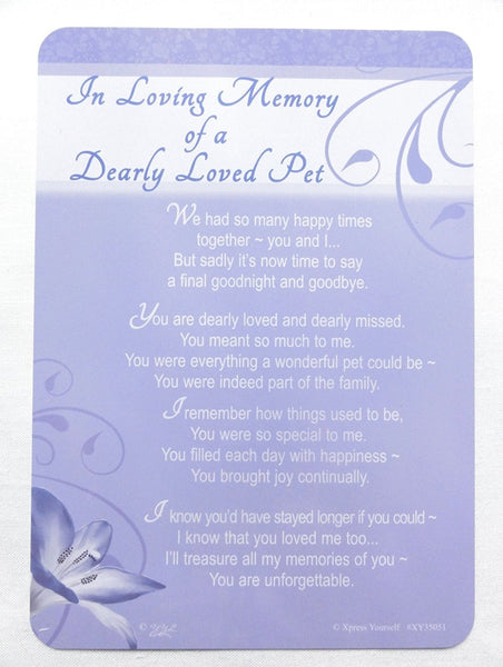 Grave Card - In Loving Memory Of A Dearly Loved Pet - hanrattycraftsgifts.co.uk
