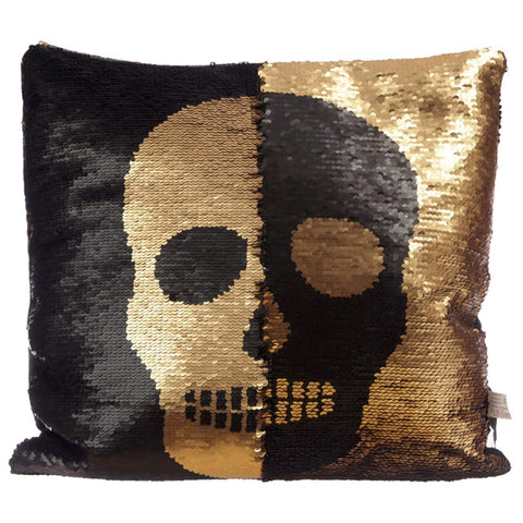 Black and Gold Sequin Skull Cushion - hanrattycraftsgifts.co.uk