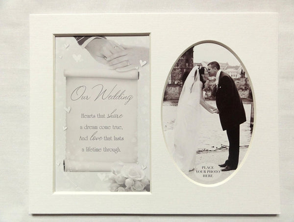 10 x 8 Sentiment Photo Mount Our Wedding Message