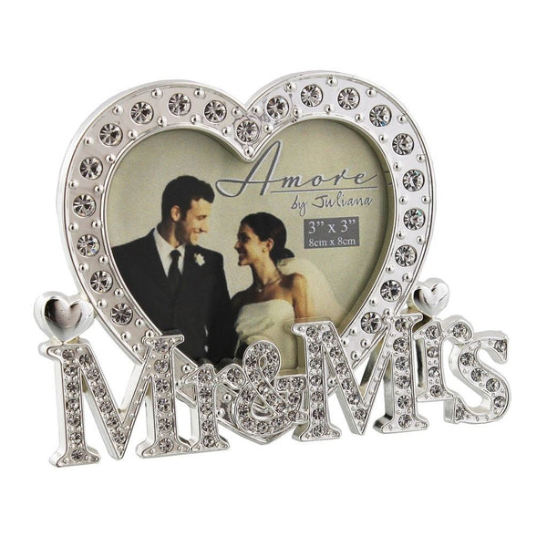 "Amore by Juliana - Silverplated Mr & Mrs Photo Frame - 3"" x 3"" - WG538 - New - hanrattycraftsgifts.co.uk"