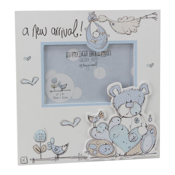 "Tracey Russell 6""x4"" MDF Photo Frame A New Arrival Boy Design Blue Polka Dot Frame - hanrattycraftsgifts.co.uk"