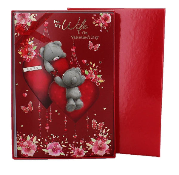 "Wife Valentine's Day Card & Red Box - Grey Bears, Big Hearts & Flowers 10"" x 7"" - hanrattycraftsgifts.co.uk"