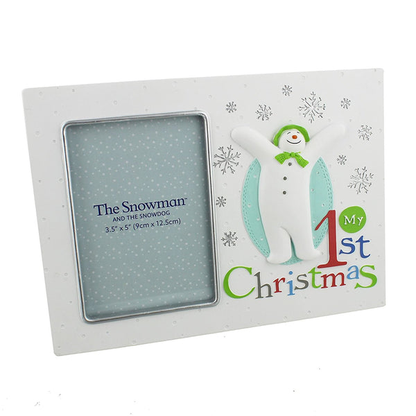 "The Snowman & The Snowdog My 1st Christmas White Photo Frame 3.5"" x 5"" Photo - hanrattycraftsgifts.co.uk"