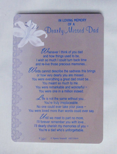Grave Card In Loving Memory Of A Dearly Missed Dad